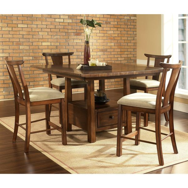 Somerton Dwelling Dakota Warm Brown Contemporary Asian 5-piece Dining Set - Overstock™ Shopping - Big Discounts on Dining Sets
