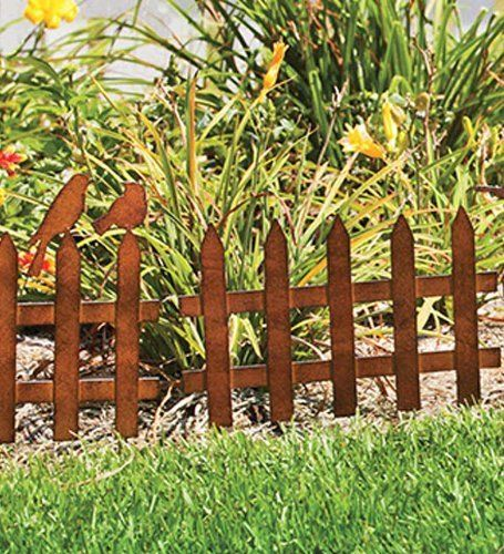 Set of 6 rustic metal picket fence garden edging with for Decorative vegetable garden fencing
