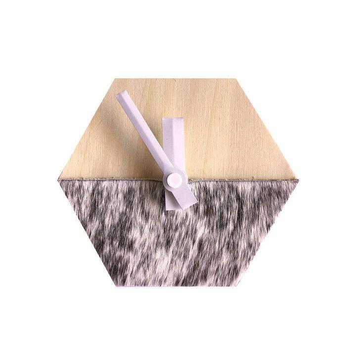Amindy Hexagon Desk Clock - Black freckle cowhide - $59 - Shop online at www.amindy.com.au