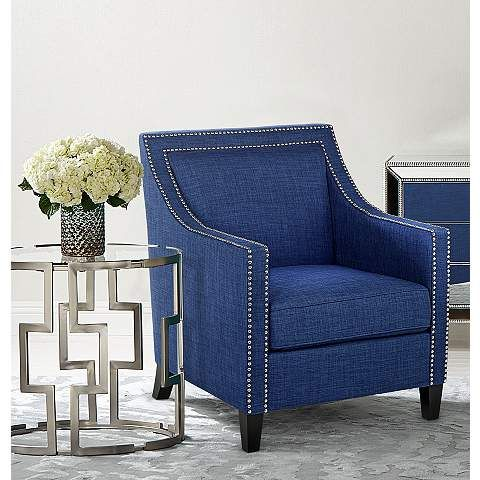 Flynn Navy Blue Accent Chair - #4W442 | LampsPlus.com