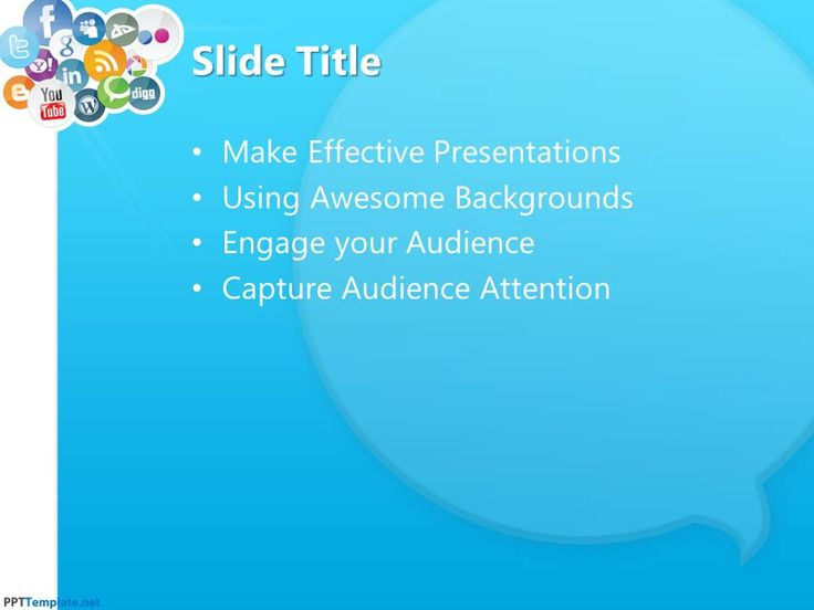 Download a free PPT template for Social Media reports and presentations in Microsoft PowerPoint, also compatible with Google Slides and Keynote.