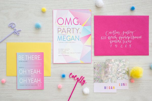 Lisa Frank Rainbow Birthday!  Photography: Shay & Olive | Styling + Florals: Celebrate Colorfully | Stir Sticks: The Roc Shop | Venue: The Coterie | Invitations: Lane Love Paper Co.