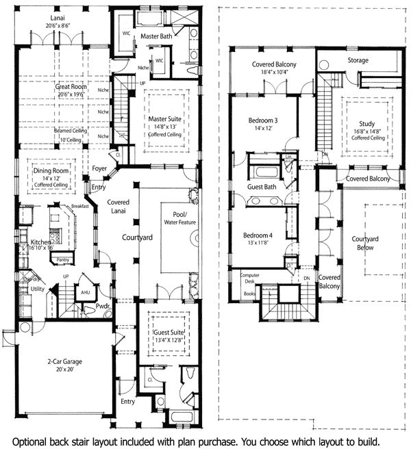 Energy Saving Courtyard House Plan - 33032ZR | Florida, Mediterranean, Spanish, Narrow Lot, Net Zero Ready, Photo Gallery, 1st Floor Master Suite, CAD Available, Courtyard, Den-Office-Library-Study, Jack & Jill Bath, PDF | Architectural Designs