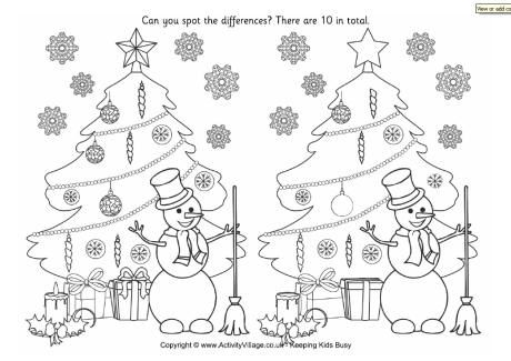 Lots of Holiday Printables  Find the differences - Christmas tree