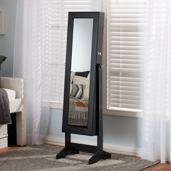 Baxton Studio Althaia Black Finishing Wood Free Standing Cheval Mirror Jewelry Armoire