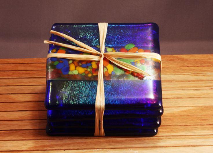 "Kessler Craftsman ""Cobalt Iridescent"" Fused Art Glass Coasters"