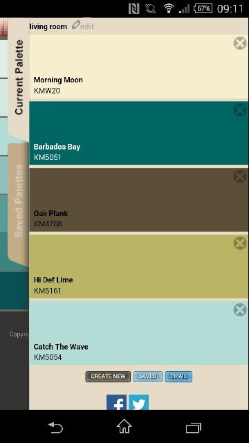 Living room colours olive/lime, brown leather sofa, teal, cream and a splash of seafoam blue