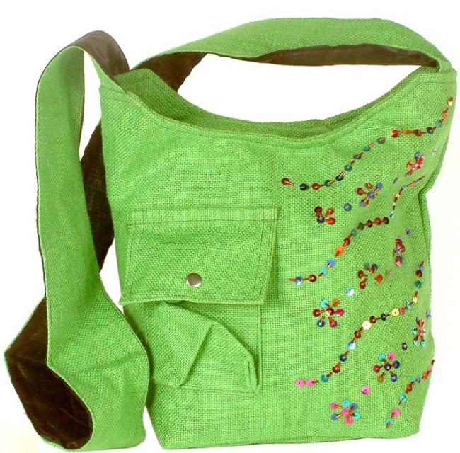 lime green jute shoulder bag