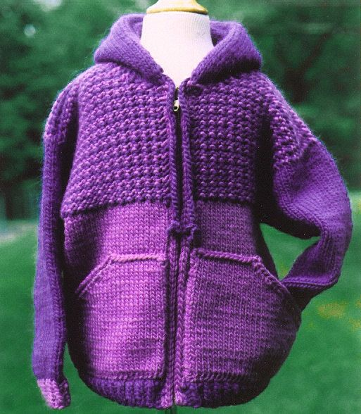 Zippered Hoodie Knitting Pattern : Knitting Pattern-Sweatshirt Jacket for Kids, knit hoodie ...