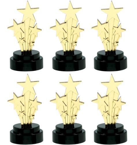 Hollywood Star Trophies - Party City $4.99 Pass out the awards! With so many trophies to a package, everyone becomes a star. Hollywood Star Trophies feature a spray of gold tone shooting stars rising from a black plastic base. Package contains 6 Star Trophies, each measuring 4in high.
