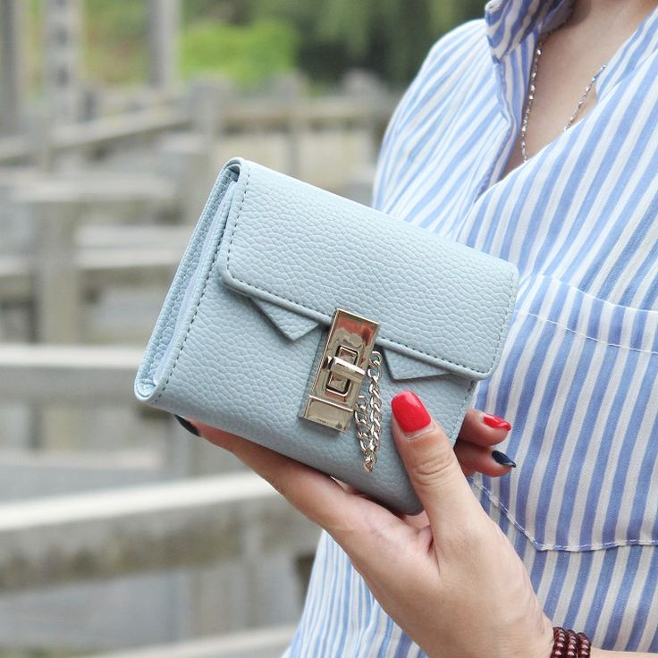 Fashion litchi stria Pu leather women wallet solid short women purse female brand 2017 wallet for women small chain lock wallet