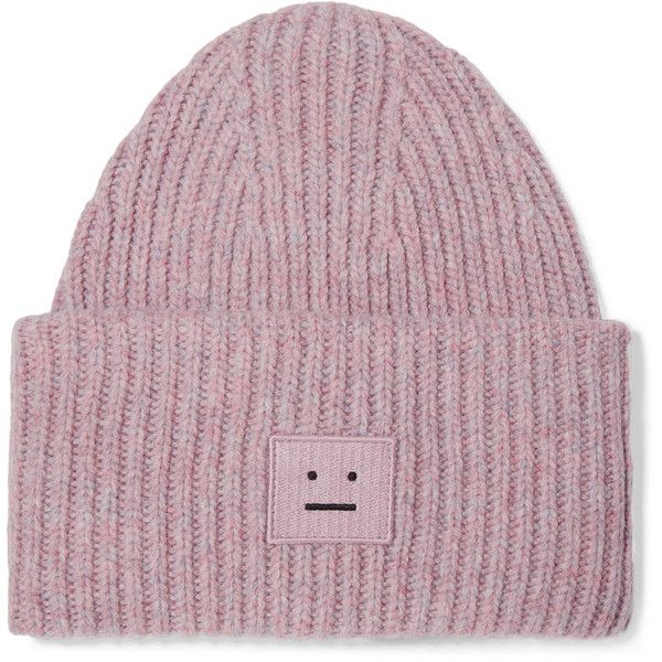Acne Studios Pansy appliquéd ribbed wool-blend beanie (1,035 GTQ) ❤ liked on Polyvore featuring accessories, hats, embroidered beanie, embroidery hats, ribbed beanie hat, beanie cap hat and ribbed hat