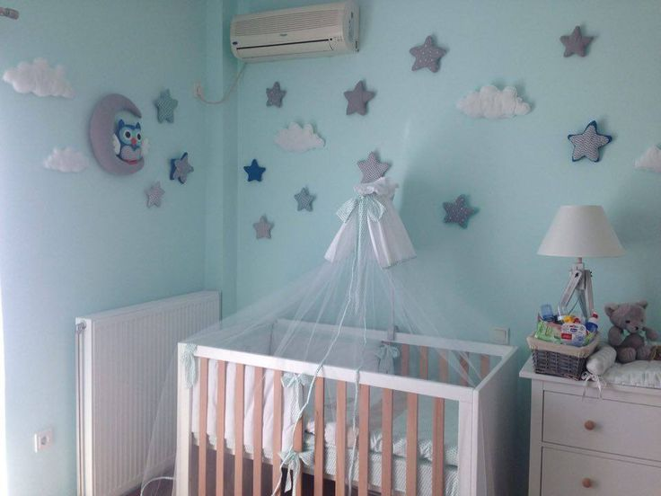 baby room night owl, clouds and stars