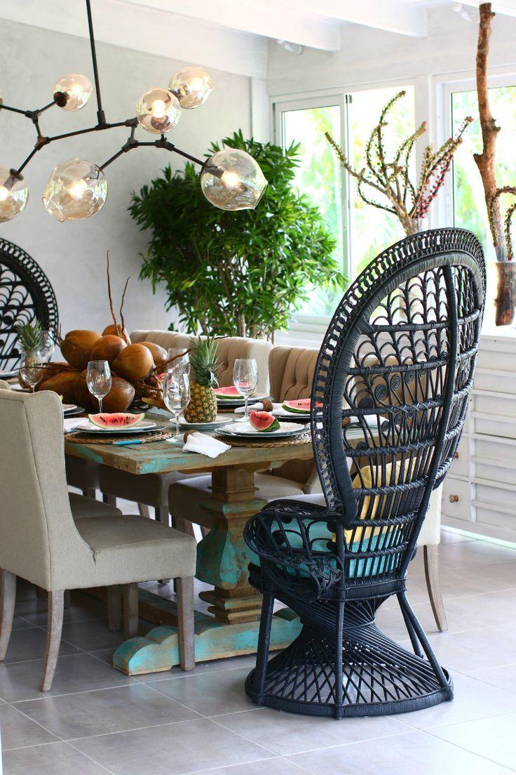 #Beachhouse #Villa #peacockchair #interiordesign #interior #tropicalinterior