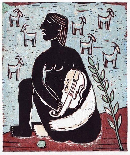 Pastýřka, linoryt, 30 x 25 cm, 12 tisků, Shepherdess, 2012, linocut, 30 x 25 cm, 12 prints by Jindřich Pevný