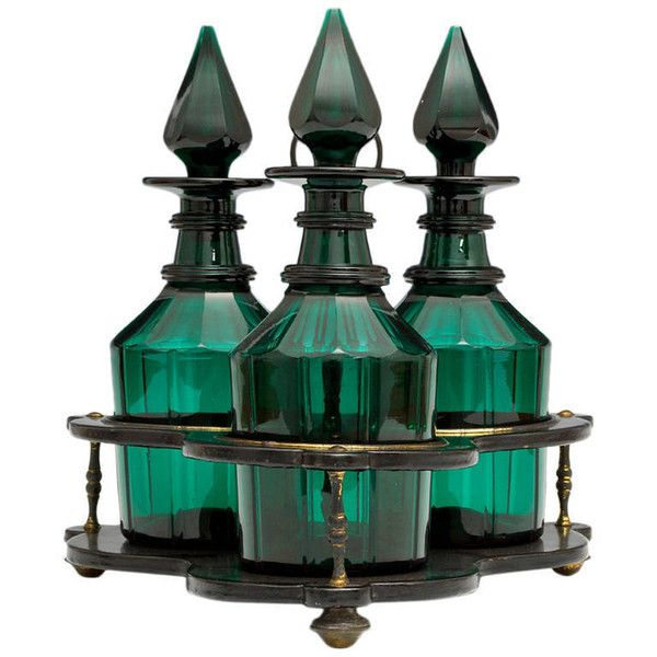 Set of Three Green Glass Victorian Decanters in Black Lacquer Stand ($2,130) ❤ liked on Polyvore featuring home, home decor, fillers, decorations, bottles, glass bottle, green glass bottles, black bottle and black home decor