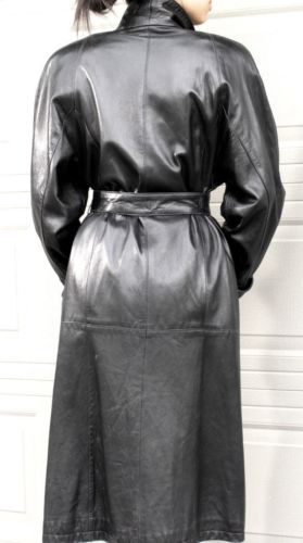 BELTED LONG BLACK LEATHER DRESS TRENCH COAT from VAKKO