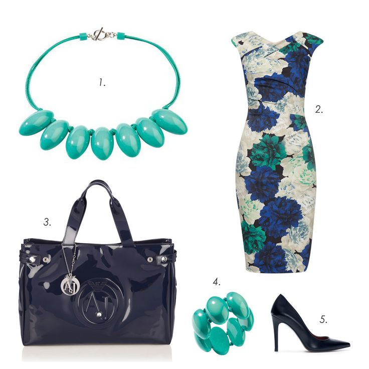 Sunny day outfit #ZSISKA 1.Necklace: Zsiska 2.Dress: Karen Millen 3.Bag: Armani Jeans 4.Bracelet: Zsiska 5.Pumps: Zara