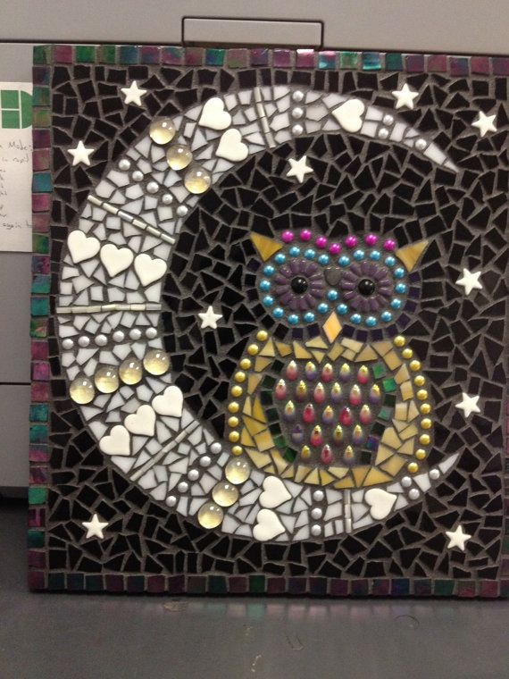 Mosaic owl wall art by NorthLakeMosaics on Etsy
