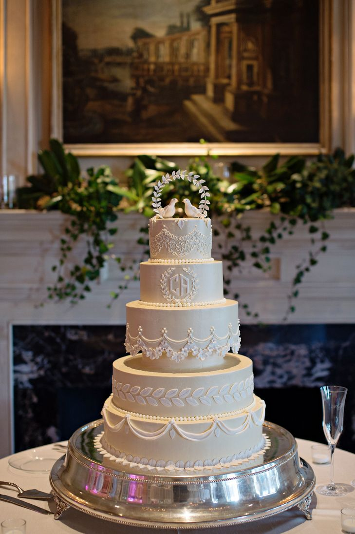 Formal Ivory Wedding Cake With Delicate Piping
