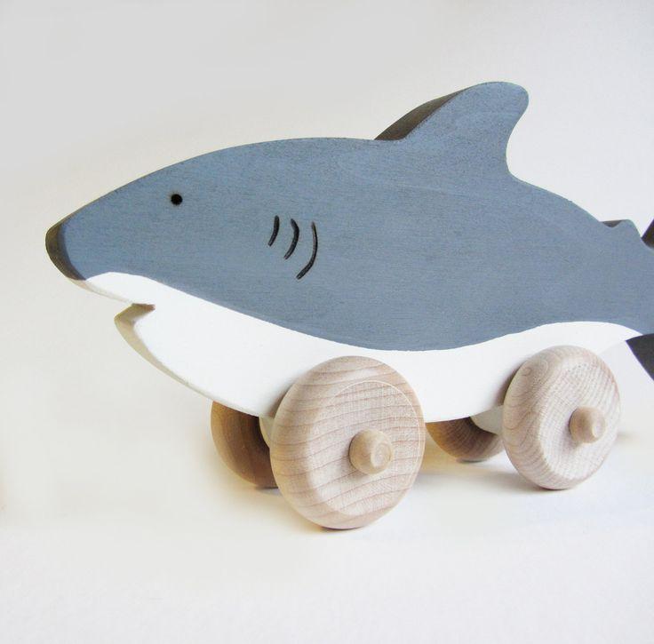 Wooden Shark Push Toy- Eco Friendly Waldorf