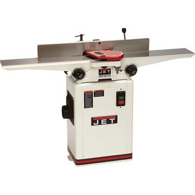 JET 708457DXK JJ-6CSDX 6-Inch 1 HP Jointer with Quick-Set Knive System, 115/230-Volt 1-Phase. Extra-Long cast iron table for better control and more accuracy. 1/2-Inch Rabbeting Capacity; 33-1/8-Inch long fence with 45 and 90-Degree stops. Powerful 1-horsepower motor;-industrial push button controls. 3 high-speed steel knives-Inch the cutter head; Quick Set Knives provide easy changing. 4-Inch dust port for efficient dust and chip disposal.