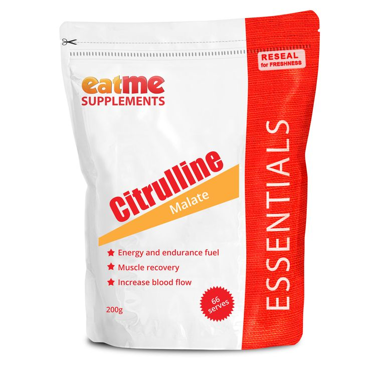 Eat Me Citrulline Malate Powder 200g from Superior Supplements Citrulline Malate boosts your energy, endurance and strength. That's exactly what you need when you're pushing it to the limit, day in and day out. You want a power-house supplement that's going to maintain your intensity from start to finish and help muscle recovery. Citrulline Malate also improves muscular endurance and recovery by helping remove ammonia and painful lactic acid from muscles during exercise.