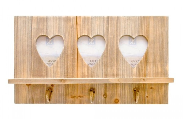 Triple Heart Wooden Photo Frame with Hooks