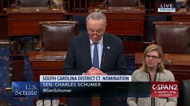 Chuck Schumer admitted on the Senate floor that he would not vote to approve the nomination of Marvin Quattlebaum for a vacancy on the U.S. District Court for the District of South Carolina, because he is white.
