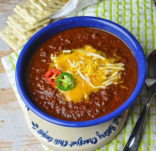 Competition-Style Texas Chili Recipe Main Dishes with tomato paste, chuck, beef stock, chili powder, ancho chile pepper, chipotle chile, onions, garlic cloves, ground cumin, oregano, cayenne pepper, salt