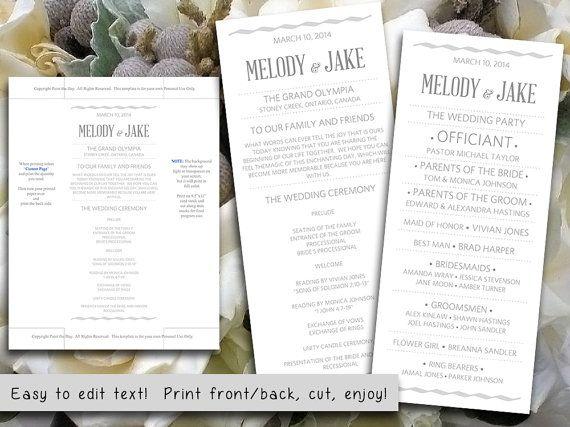 DIY Wedding Program Template Silver Gray - Wave Modern Typography Wedding Ceremony Program Microsoft Word - Printable Wedding Program by PaintTheDayDesigns, $10.00