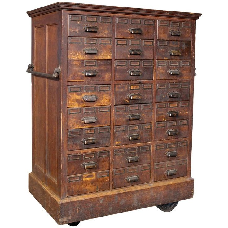 Rolling Apothecary Wood Storage Cabinet Vintage With Br Hardware