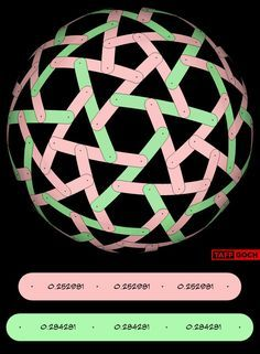 Geodesic rotegrity, or nexorade, based on tessellation of the icosahedron 60 red bands 30 green bands Using these dimensions will produce a sphere of unit (1.000000) radius (Also, see Rotegrity Spr...