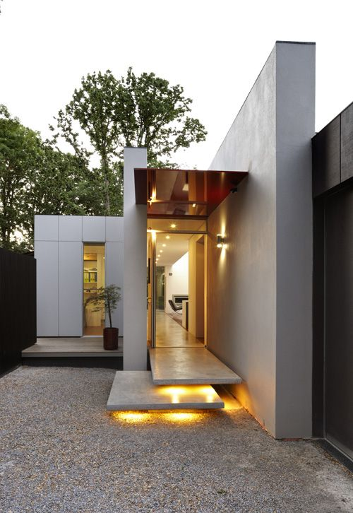 Lights on the steps for entrance House in Australia by Marcus O'Reilly Architects.