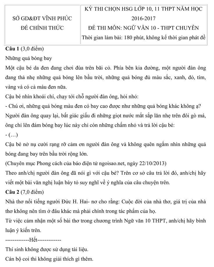 Đề thi học sinh giỏi môn ngữ văn lớp 10 cấp tỉnh Vĩnh Phúc năm 2016-2017 có cấu trúc đề thi gồm 2 câu, gồm 1 câu theo đoạn trích và yêu cầu đọc hiểu, một câu nói về việc bình luận về nhận định bình thơ của các trác giả.