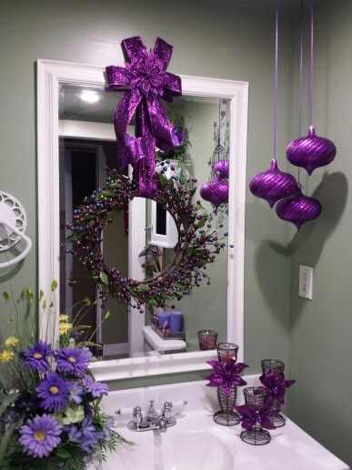 Christmas 2014. Purple Decorated Holiday Bathroom. - remodelworks.com
