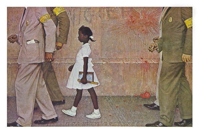 Αστυνομικοί συνοδεύουν μια μαθήτρια στο σχολείο της, για  την προστασία της  από επιθέσεις λευκών που δεν ανέχονταν ίσα δικαιώματα με τους μαύρους.