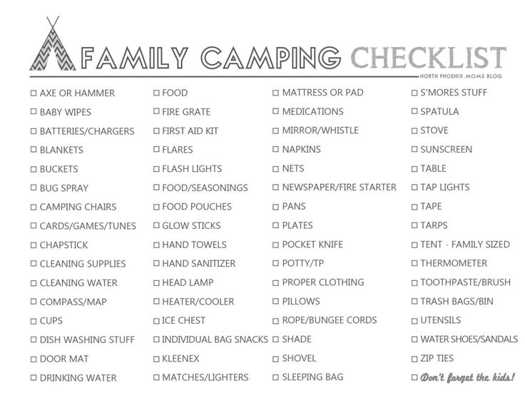 Sample Camping Checklist Girls Camp Packing List Google Search