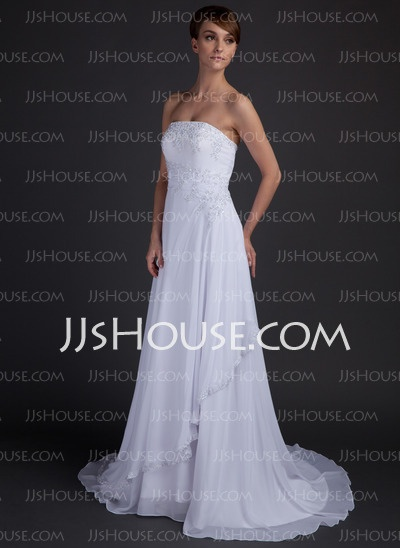 Wedding Dresses - $127.29 - A-Line/Princess Strapless Chapel Train Chiffon Satin Wedding Dresses With Lace Beadwork (002012572) http://jjshouse.com/A-Line-Princess-Strapless-Chapel-Train-Chiffon-Satin-Wedding-Dresses-With-Lace-Beadwork-002012572-g12572