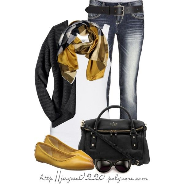 """Mustard and Black"", created by jaycee0220 on Polyvore"