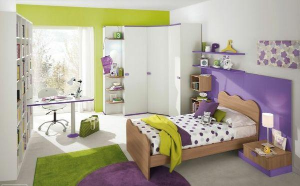 kinderzimmer gestalten eckkleiderschrank weiß lila interieur ... - Kinderzimmer Weis Lila