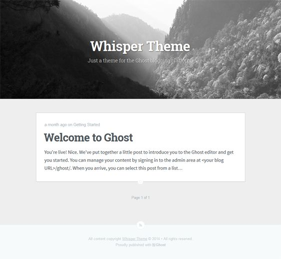 This free minimal Ghost theme has parallax effects, a responsive design, and more.
