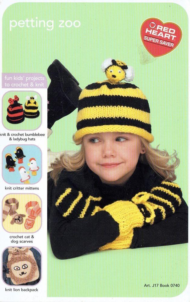 Kids Knitting Crochet Patterns Ladybug Hats Knit Critter Mittens Cat Dog Scarves  | eBay