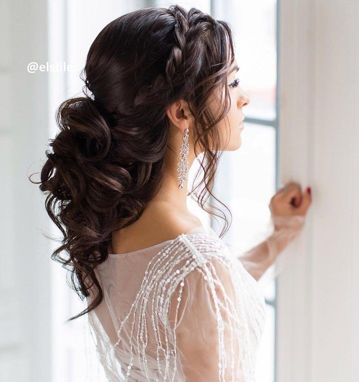 32 Pretty Half up half down hairstyles – partial updo wedding hairstyle