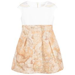 Girls ivory satin and tulle dress by Alviero Martini, with the designer's signature light beige Geo map print. The bodice is made in soft satin, with gold and pearl bead details. It has a high waist and a flared skirt made from layers of soft tulle. For added comfort is has a smooth cotton lining and fastens with a concealed back zip.