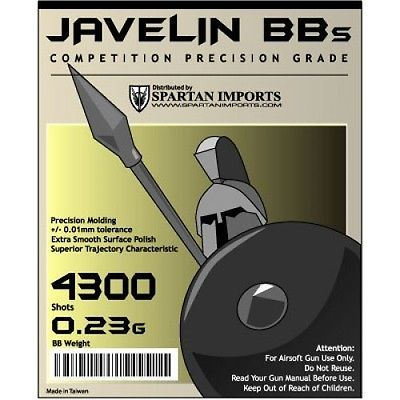 BBs 31682: Javelin .23G 0.23G Competition Grade Airsoft 6Mm Bbs Bb (5X4300rd Bag) 21,5000 BUY IT NOW ONLY: $42.99