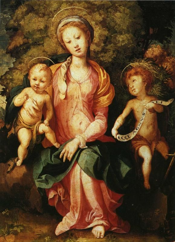 Jacopo Pontormo (Italian: 1494 – 1557) - Madonna and Child with the Young Saint John (1527)