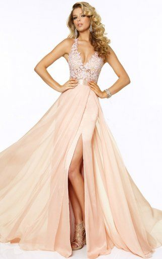 Sexy Floor-length Natural Sleeveless Deep V-neck V Back Long Prom Dresses, Beach Coast Prom Dress, Peach Prom Dresses  High Slit Chiffon Prom Dress  #chiffonpromdresses #juniorpromdresses