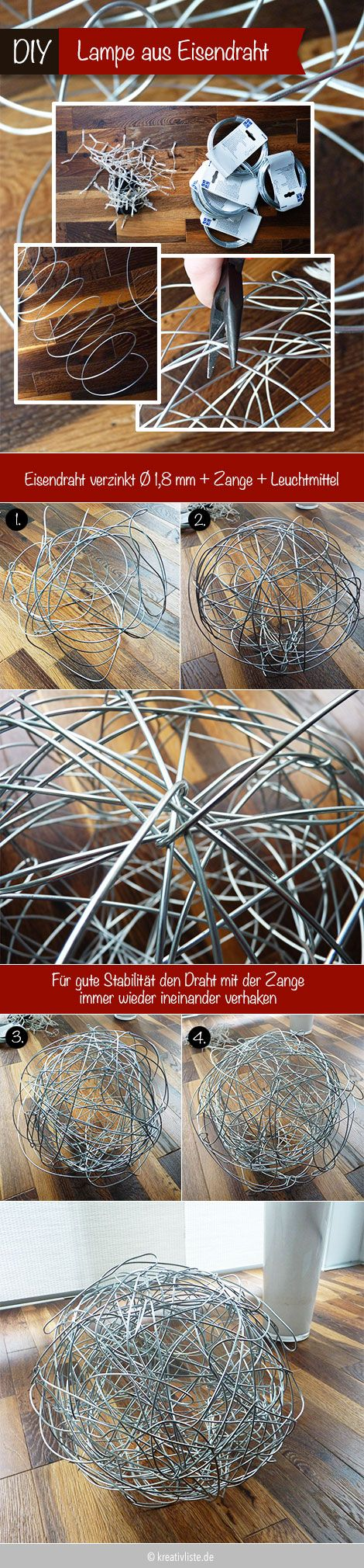 #Lampe selber machen #DIY Drahtleuchte #lamp - Anleitung auf www.kreativliste.de