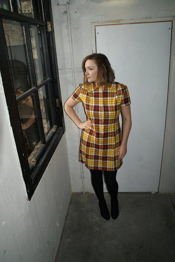 Vintage 60's Checked Yellow & Brown Wool Dress